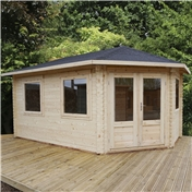 17ft x 10ft (5m x 3m) KANSAS GRANDE Corner Log Cabin (Single Glazing) with FREE Felt (28mm) - Left Door