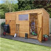 10ft x 8ft Tongue and Groove Wooden Pent Garden Shed With 1 Window And Single Door (10mm Solid OSB Floor) - 48HR + SAT Delivery*