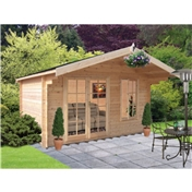 10ft x 12ft Log Cabin + Fully Glazed Double Doors (2.99m x 3.59m) - 28mm Wall Thickness
