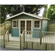 14ft x 12ft Log Cabin + Fully Glazed Double Doors (4.19m x 3.59m) - 28mm Wall Thickness
