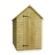 4FT x 4FT WINDOWLESS PRESSURE TREATED TONGUE + GROOVE APEX SHED + SINGLE DOOR