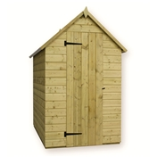 8FT x 4FT WINDOWLESS PRESSURE TREATED TONGUE + GROOVE APEX SHED + SINGLE DOOR