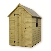 5FT x 4FT PRESSURE TREATED TONGUE + GROOVE APEX SHED + 1 WINDOW + SINGLE DOOR