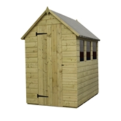 6FT x 4FT PRESSURE TREATED TONGUE + GROOVE APEX SHED + 1 WINDOW + SINGLE DOOR