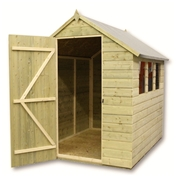9FT x 5FT PRESSURE TREATED TONGUE + GROOVE APEX SHED + 4 WINDOWS + SINGLE DOOR