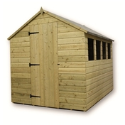 7FT x 6FT PRESSURE TREATED TONGUE & GROOVE APEX SHED + 3 WINDOWS