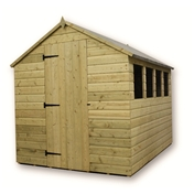 9FT x 6FT PRESSURE TREATED TONGUE & GROOVE APEX SHED + 3 WINDOWS + SINGLE DOOR
