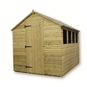 10FT x 6FT PRESSURE TREATED TONGUE + GROOVE APEX SHED + 4 WINDOWS + SINGLE DOOR