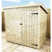 6FT x 6FT WINDOWLESS PRESSURE TREATED TONGUE + GROOVE PENT SHED + SINGLE DOOR