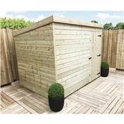 8FT x 6FT WINDOWLESS PRESSURE TREATED TONGUE + GROOVE PENT SHED + SINGLE DOOR