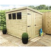 8FT x 7FT PRESSURE TREATED TONGUE & GROOVE PENT SHED + 3 WINDOWS + SIDE DOOR