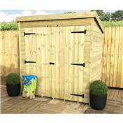 6FT x 4FT WINDOWLESS PRESSURE TREATED TONGUE + GROOVE PENT SHED + DOUBLE DOORS