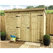 8FT x 7FT WINDOWLESS PRESSURE TREATED TONGUE + GROOVE PENT SHED + DOUBLE DOORS