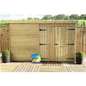 10FT x 6FT WINDOWLESS PRESSURE TREATED TONGUE & GROOVE PENT SHED + DOUBLE DOORS