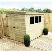 8FT x 4FT REVERSE PRESSURE TREATED TONGUE & GROOVE PENT SHED + 3 WINDOWS