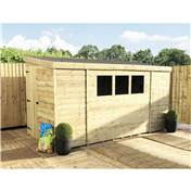 10FT x 8FT REVERSE PRESSURE TREATED TONGUE & GROOVE PENT SHED + 3 WINDOWS