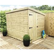 6FT x 5FT WINDOWLESS PRESSURE TREATED TONGUE + GROOVE PENT SHED + SIDE DOOR