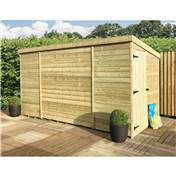 10FT x 8FT WINDOWLESS PRESSURE TREATED TONGUE & GROOVE PENT SHED + SIDE DOOR