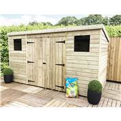 14FT x 8FT LARGE PRESSURE TREATED TONGUE & GROOVE PENT SHED + DOUBLE DOORS CENTRE + 2 WINDOWS