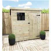 6FT x 5FT PRESSURE TREATED TONGUE + GROOVE PENT SHED + 1 WINDOW + SINGLE DOOR