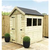7FT x 4FT PREMIER PRESSURE TREATED TONGUE + GROOVE APEX SHED + 3 WINDOWS + HIGHER EAVES & RIDGE HEIGHT + SINGLE DOOR