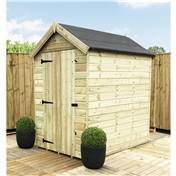 5FT x 5FT PREMIER WINDOWLESS PRESSURE TREATED TONGUE + GROOVE APEX SHED + HIGHER EAVES & RIDGE HEIGHT + SINGLE DOOR