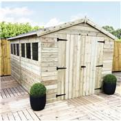 12ft x 8ft Premier Pressure Treated Tongue and Groove Apex Shed With Higher Eaves And Ridge Height 4 Windows And Double Doors