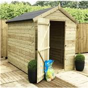 7FT x 6FT PREMIER WINDOWLESS PRESSURE TREATED TONGUE & GROOVE SINGLE DOOR APEX SHED + HIGHER EAVES & RIDGE HEIGHT
