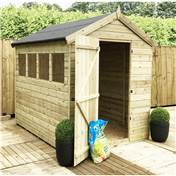 12FT x 6FT PREMIER PRESSURE TREATED TONGUE + GROOVE SINGLE DOOR APEX SHED + 4 WINDOWS + HIGHER EAVES & RIDGE HEIGHT