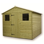 10FT x 8FT PREMIER PRESSURE TREATED TONGUE & GROOVE APEX SHED + REVERSE 2 WINDOWS + HIGHER EAVES & RIDGE HEIGHT