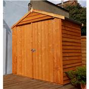 4ft x 6ft Premier Reverse Overlap Apex Wooden Garden Windowless Shed Dip-Treated With Double Doors (10mm Solid OSB Floor)