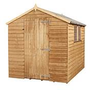 8ft x 6ft Value Wooden Overlap Apex Shed With Single Door + 2 Windows (Solid 10mm OSB Floor) - 48HR + SAT Delivery*