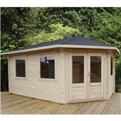 17ft x 10ft (5m x 3m) KANSAS GRANDE Corner Log Cabin (Single Glazing) with FREE Felt (28mm) - Right Door