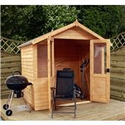 7ft x 5ft Value Overlap Wooden Summerhouse (10mm Solid OSB Floor) - 48HR + SAT Delivery*