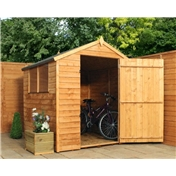 6ft x 6ft Value Wooden Overlap Apex Shed with Single Door + 3 Windows (10mm Solid OSB Floor) - 48HR + SAT Delivery*
