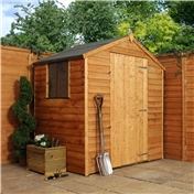 4ft x 6ft Value Wooden Overlap Apex Shed with Single Door + 2 Windows (10mm Solid OSB Floor) - 48HR + SAT Delivery*