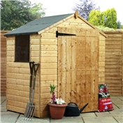 4ft x 6ft Value Wooden Tongue and Groove Apex Garden Shed with Single Door + 1 Window (10mm Solid OSB Floor and Roof) - 48HR + SAT Delivery*