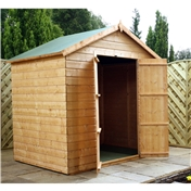 5ft x 7ft Windowless Wooden Tongue and Groove Apex Garden Shed with Double Doors (10mm Solid OSB Floor and Roof) - 48HR + SAT Delivery*