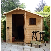 7ft x 7ft Tongue and Groove Offset Wooden Apex Garden Shed with Single Door + 1 Window (10mm Solid OSB Floor and Roof) - 48HR + SAT Delivery*