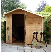 7ft x 7ft Tongue and Groove Offset Wooden Apex Windowless Garden Shed with Single Door (10mm Solid OSB Floor and Roof) ***extended Delivery Typically 14 Working Days As Treated As Special