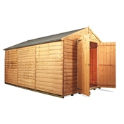 12FT x 8FT WINDOWLESS VALUE (RUSTIC) OVERLAP APEX SHED (10mm Solid OSB Floor & Roof)