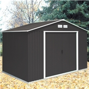 **PRE ORDER - DUE BACK IN STOCK 22ND SEPTEMBER** 10ft x 8ft Anthracite Metal Shed (3.21m x 2.42m)