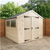 8ft x 8ft Max Plus Tongue And Groove Shed (16mm Wall Thickness) + Drain & Waterbutt Kit + Installation