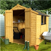 8FT x 6FT VALUE (RUSTIC) OVERLAP APEX SHED + DOUBLE DOORS + 2 WINDOWS *FREE UK MAINLAND DELIVERY**