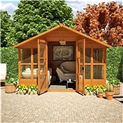 10ft x 8ft Havana Tongue & Groove Summerhouse With Overhang (10mm Solid OSB Floor & Roof)