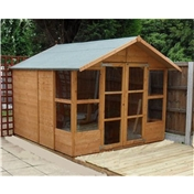 8ft x 6ft Havana Tongue & Groove Summerhouse With Overhang (10mm Solid OSB Floor & Roof)