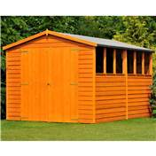 10ft x 8ft Premier Overlap Apex Wooden Garden Shed Dip-Treated With 6 Windows And Double Doors (10mm Solid OSB Floor)