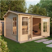 15ft x 12ft (4.5m x 3.5m) VERMONT Log Cabin (Single Glazing) with FREE Floor & Felt (34mm T&G)