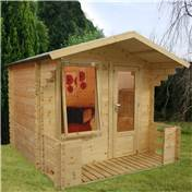 "8ft x 9ft (2.50m x 2.72m) Vicky Log Cabin Including Verandah (2' 7"" 0.8m) - (19mm Tongue and Groove)"