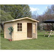 10ft x 8ft (3m x 2.4m) Premier Apex Log Cabin (Double Glazing) Free Floor + Felt (34mm)